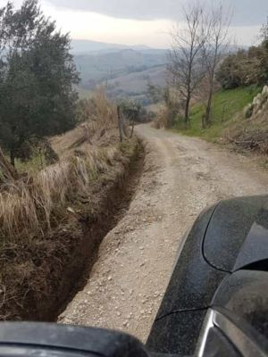 Approach on Access Road at new house construction site in Le Marche