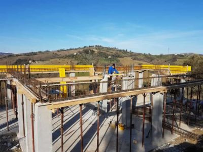 Overview of Progress at a new house construction site in Le Marche
