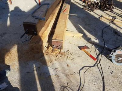 Chestnut Beams at a new house construction site in Le Marche