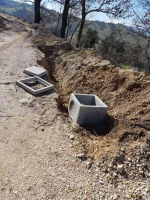 Water Meter Box in Place at a new house construction site in Le Marche