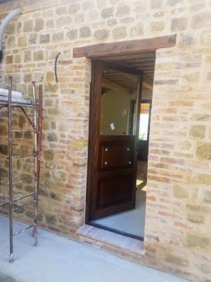 Kitchen Door at the site of new construction in Marche