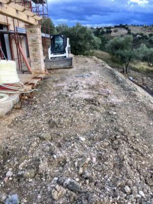 Level Area Behind House at a new building site in Le Marche, Italy