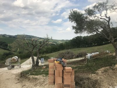 Looking North at site of a new house being built in Le Marche, Italy
