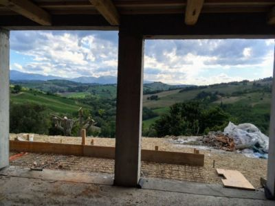 Looking West Out from Living Room of a new house being built in Le Marche