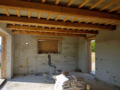 Looking Toward the Kitchen of a new house being built in Le Marche