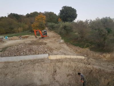 Looking Uphill from Top Floor of a new house being built in Le Marche, Italy