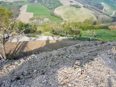 Looking West Down the Hill at a new house being built in Le Marche Italy