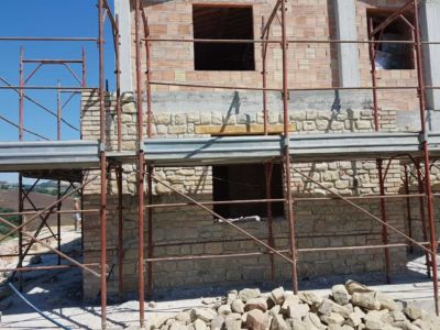 Master Bathroom Exterior Stone on a new house in Le Marche, Italy