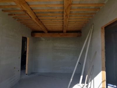 Master Bedroom with Plaster of a new house being built in Le Marche