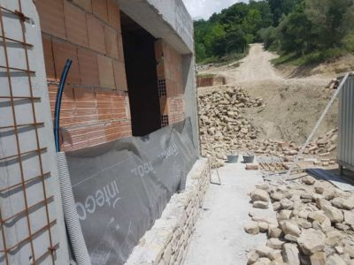 Outside the Master Bath of a new stone house in Le Marche