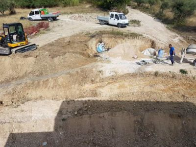 Partially Complete Front Slope at a new building site in Le Marche, Italy