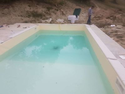Pool Border Materials in Place at the site of new construction in Marche