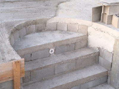 Pool Stairs at new house being built in Le Marche