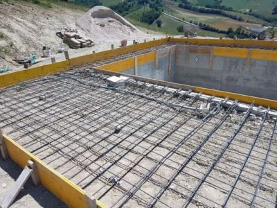 Pool Surround Steel at a new house being built in Le Marche, Italy