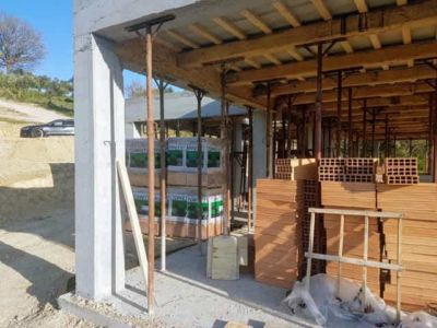 Poroton Blocks Ready for Exterior Walls at house being constructed in Le Marche