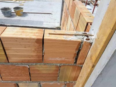 Poroton Wall Blocks in Place at a new house being built in Le Marche