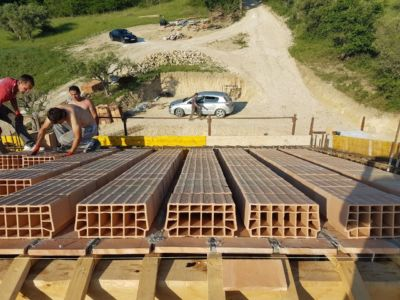 Poroton on Front Side of Roof of a new house being built in Le Marche