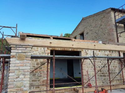 Portico Beam in Place at a new building site in Le Marche, Italy
