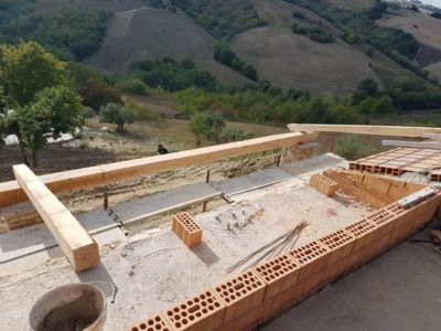 Portico Beams from Above at a new building site in Le Marche, Italy