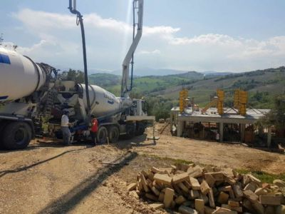 Preparing to Pump Concrete at a new house being built in Le Marche