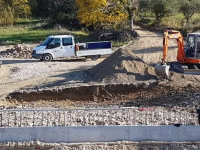 Retaining Wall in front of a new house being built in Le Marche, Italy