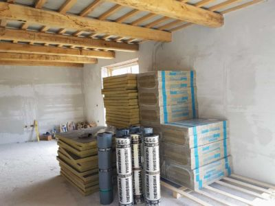 Roofing Materials Ready to Go at a new house being built in Le Marche, Italy