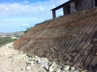 Slope Behind the House at a new house construction site in Le Marche