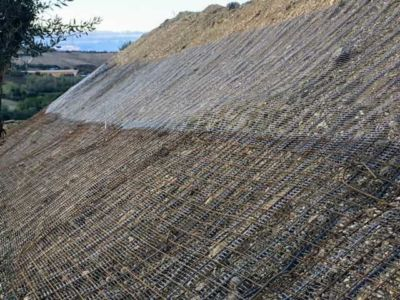 Slope Covered in Terra Armata Mesh at a new building site in Le Marche, Italy
