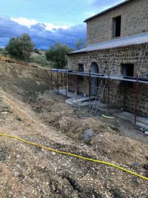 Slope in Front at a new building site in Le Marche, Italy