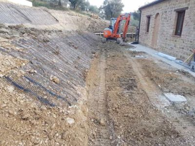Slope in Front of a new house being built in Le Marche, Italy