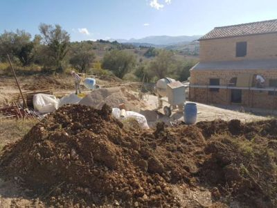 Soil from Digging Out Olive at a new building site in Le Marche, Italy