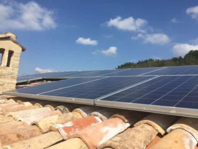 Solar Panels Installed at the site of new construction in Marche