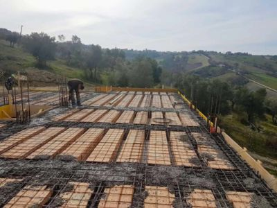 Some Concrete in Place - part of  building new house in Le Marche