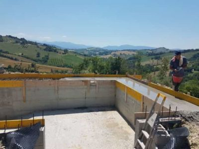 Some Pool Concrete in Place at a new house being built in Le Marche, Italy