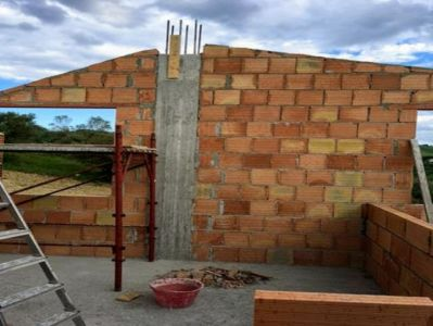 South Wall of Bedrooms under construction at a new house building site in Le Marche