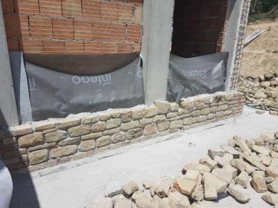 South Wall of Study of a new stone house in Le Marche