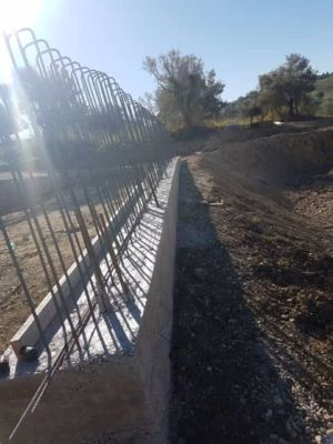 Start of Retaining Wall at new house construction site in Le Marche