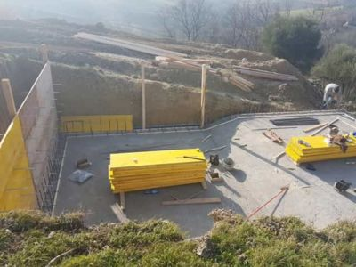 Starting The Concrete Forms for a pool in Le Marche