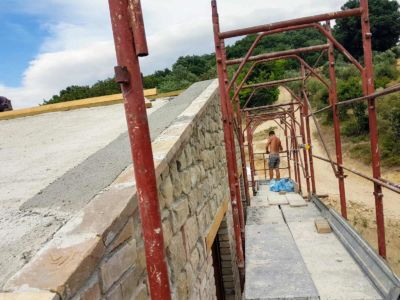 Stonework Complete to Roofline of a new house being built in Le Marche, Italy