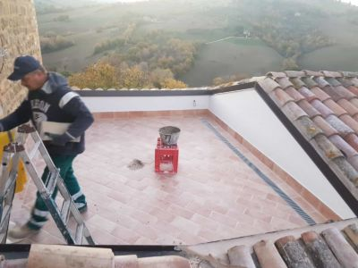 Terrace Finished Except for Railing at a new house being built in Le Marche