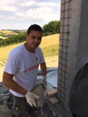 The First Stone is Ready on a new stone house in Le Marche