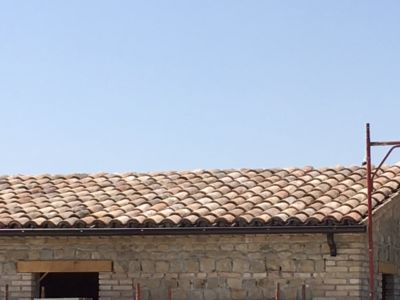 The Roof with Gutters on a new house being built in Le Marche, Italy