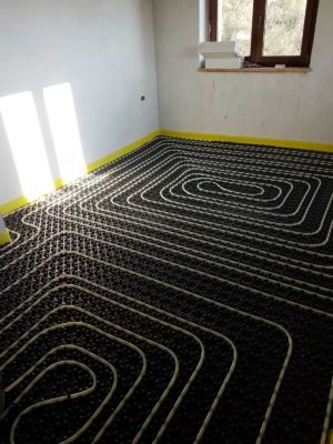 Underfloor Pipes in Bedroom at a new house in Le Marche
