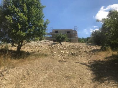 View Back Up the Hill of our new house under construction in Le Marche