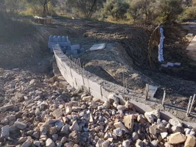 Wall Backfill in front of a new house being built in Le Marche, Italy