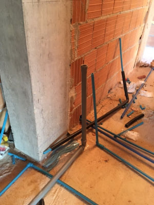 Water and Heating pipes installed in a new house in Le Marche