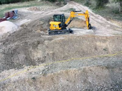 Work on Slope in Front at a new building site in Le Marche, Italy