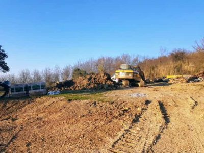 Working Above the Parking Area at new house being constructed in Le Marche
