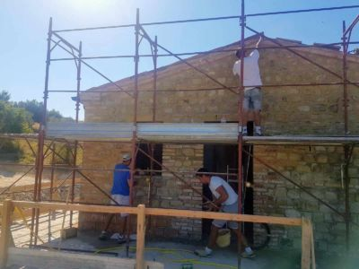 Working Up High of a new house being built in Le Marche