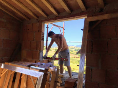 Working in the Main Room of a new house being built in Le Marche